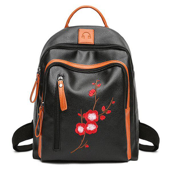Plum Blossom Embroidered Backpack - BLACK