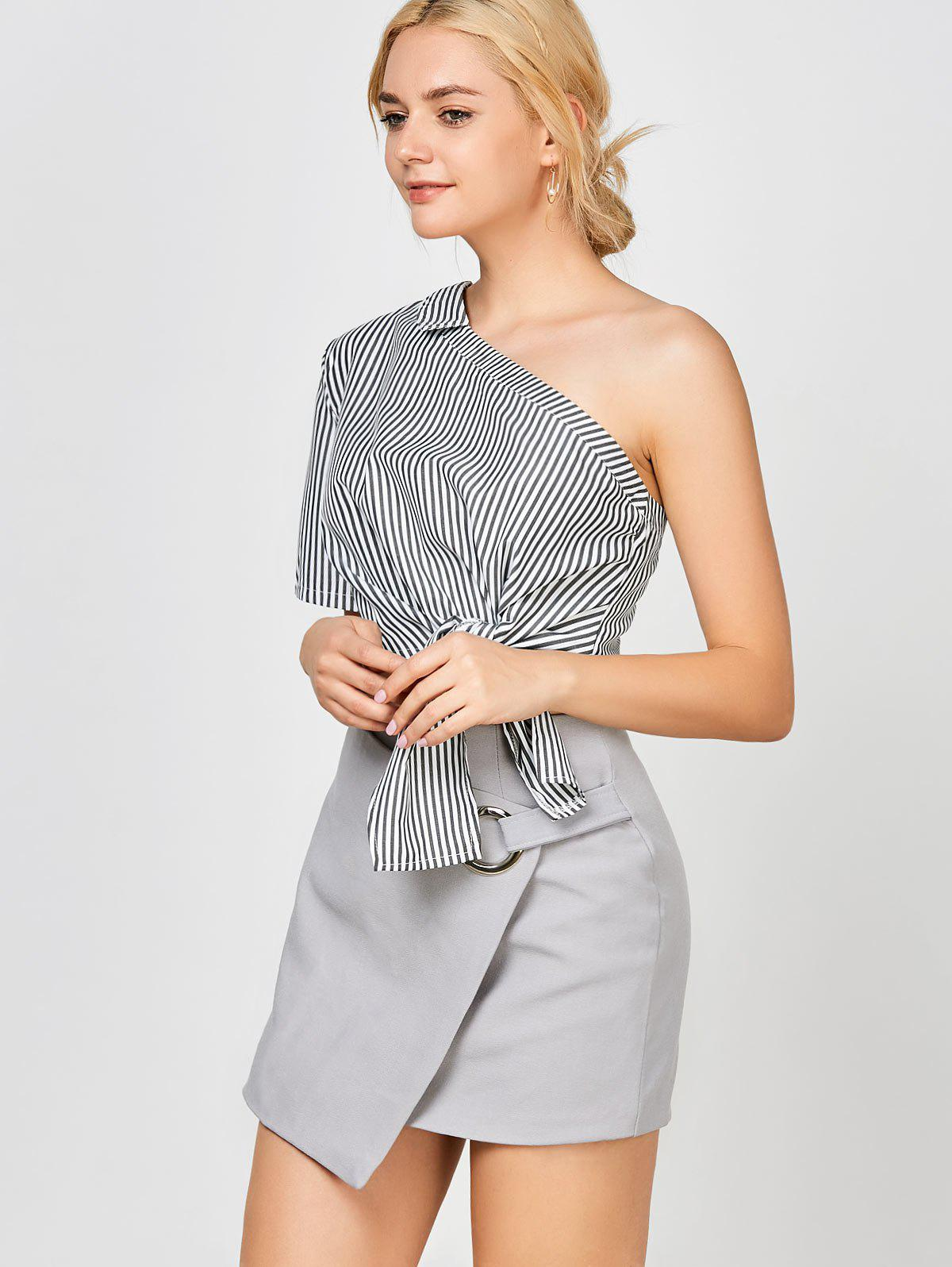 One-Shoulder Self-Tie Stripe Crop Top - WHITE/BLACK L