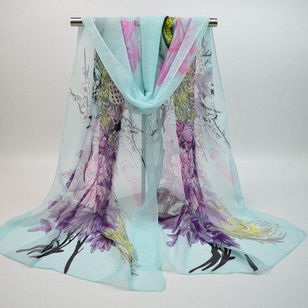 Chiffon Blooming Flowers Peacock Printed Chinoiserie Scarf blooming flowers and leaves printed antiskid area rug