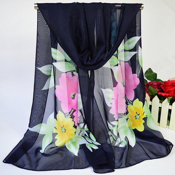 Lightsome Showy Blooming Flowers Printing Chiffon Scarf - CADETBLUE
