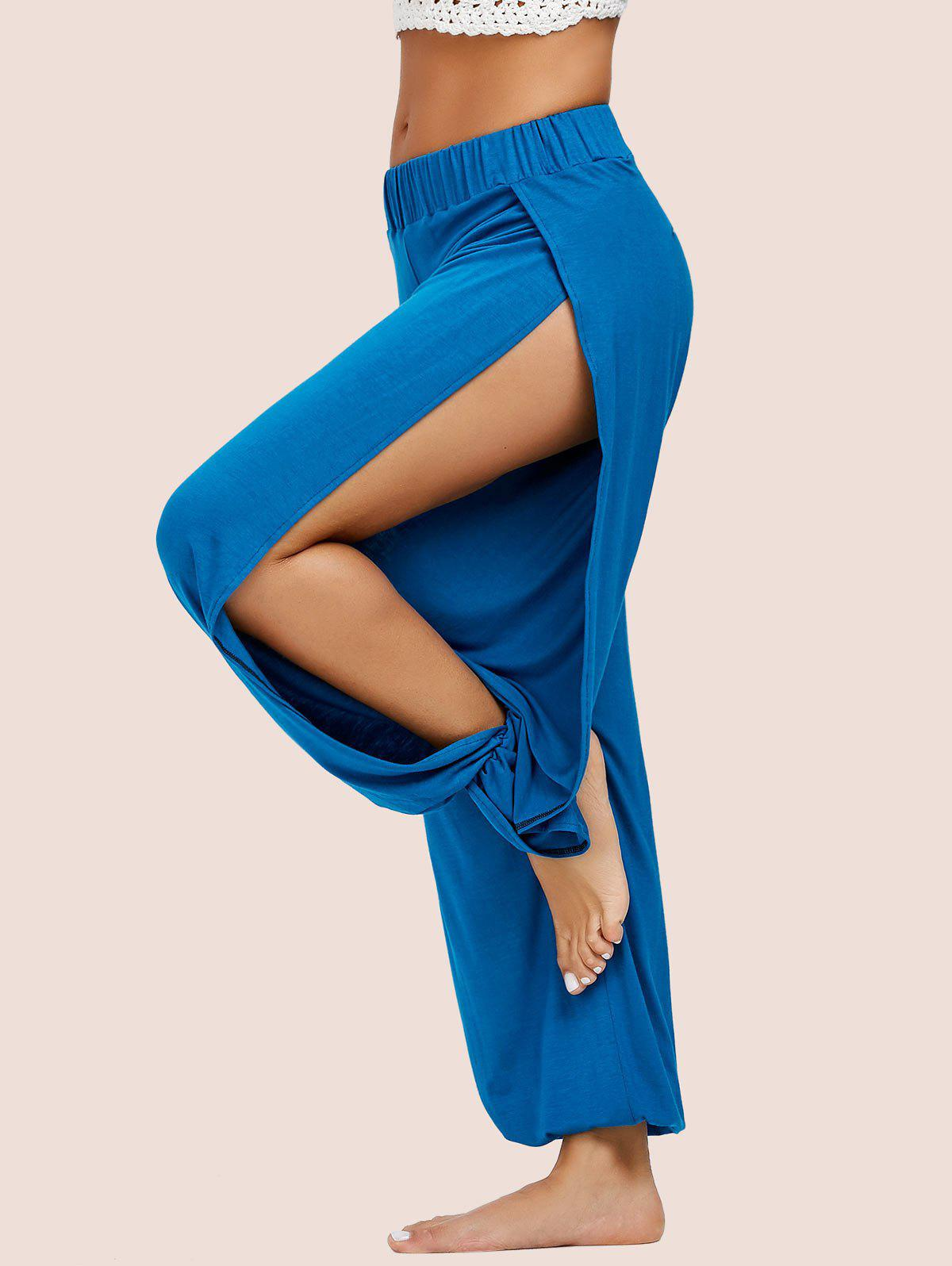 High Slit Elastic Waist Harem Pants - BLUE S
