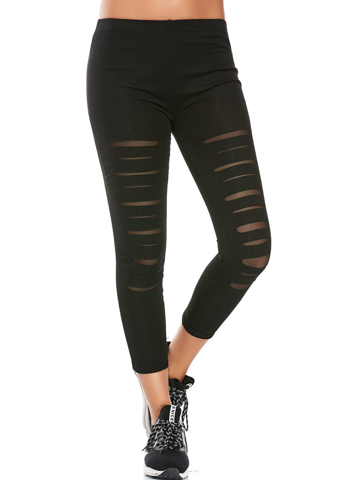 Sports Distressed Leggings With Mesh Fishnet Panel 212700701