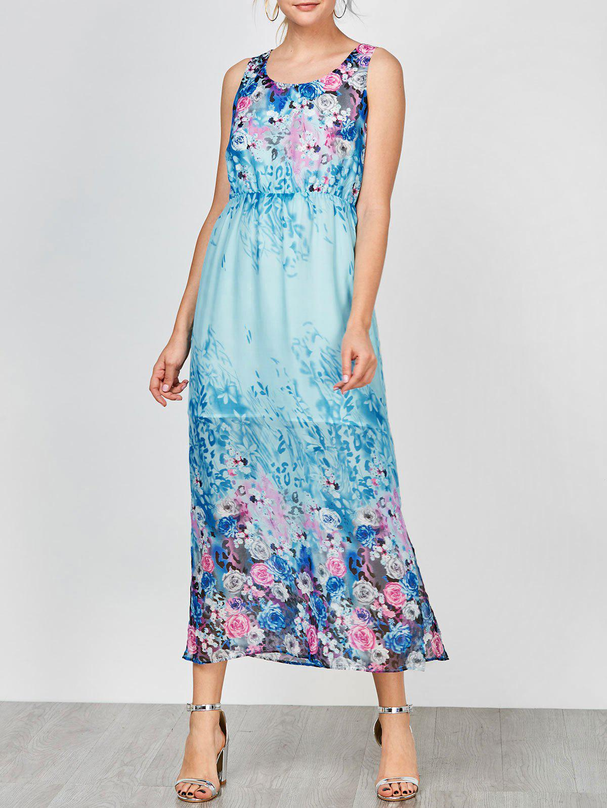 Floral Sleeveless Maxi Party Dress - BLUE L