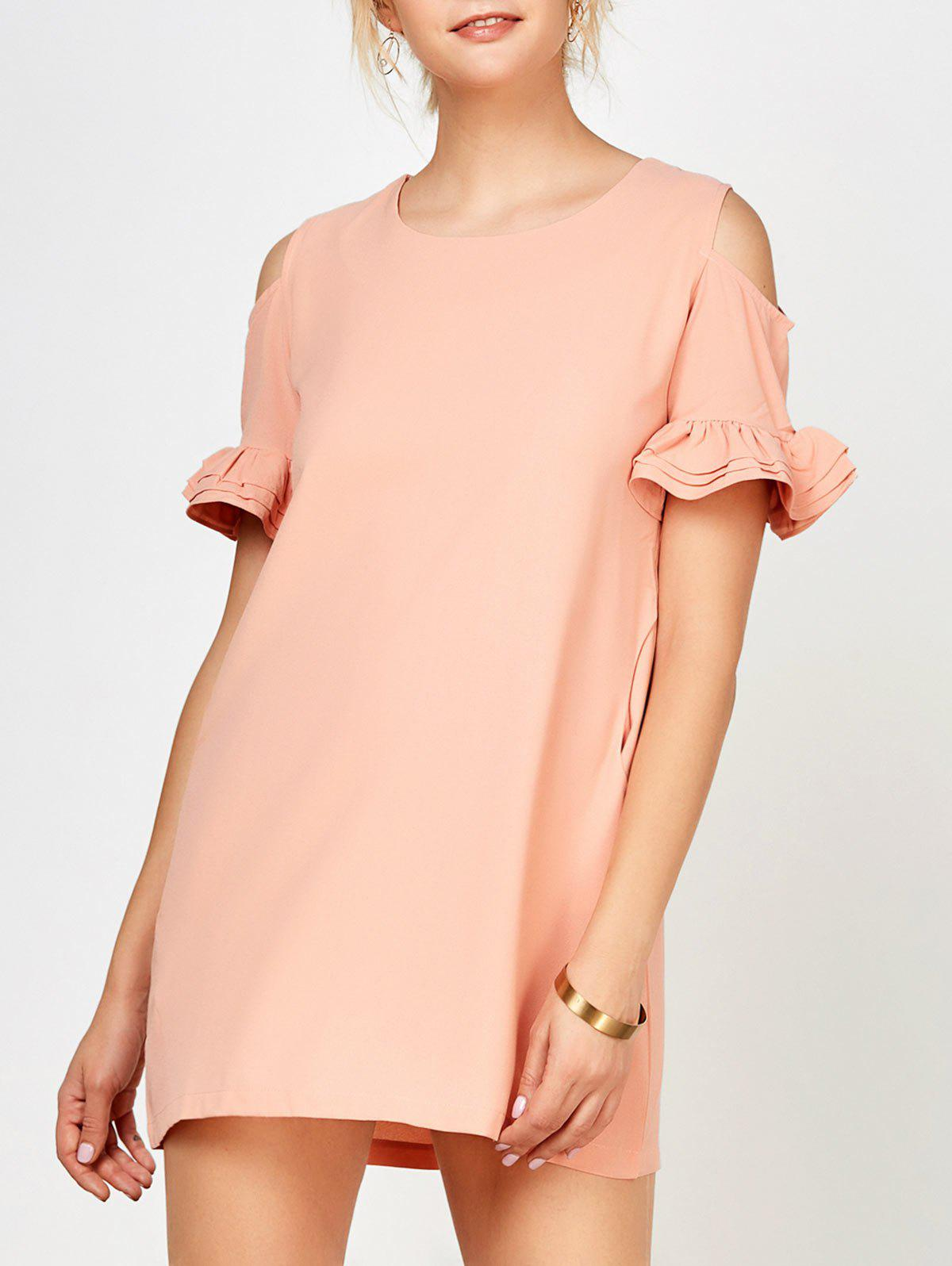 Ruffle Cold Shoulder Mini Dress - PINK S