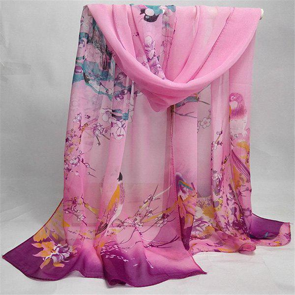 Chinoiserie Bird Flowering Branches Printing Shawl Scarf - PINK