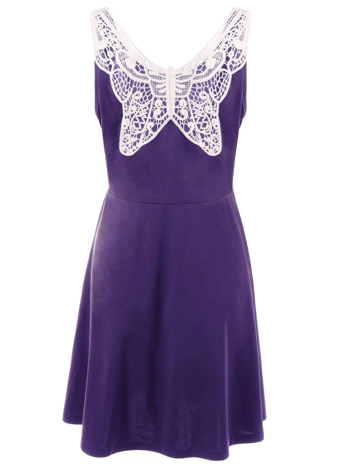 Plus Size Lace Panel Skater Dress - PURPLE 2XL