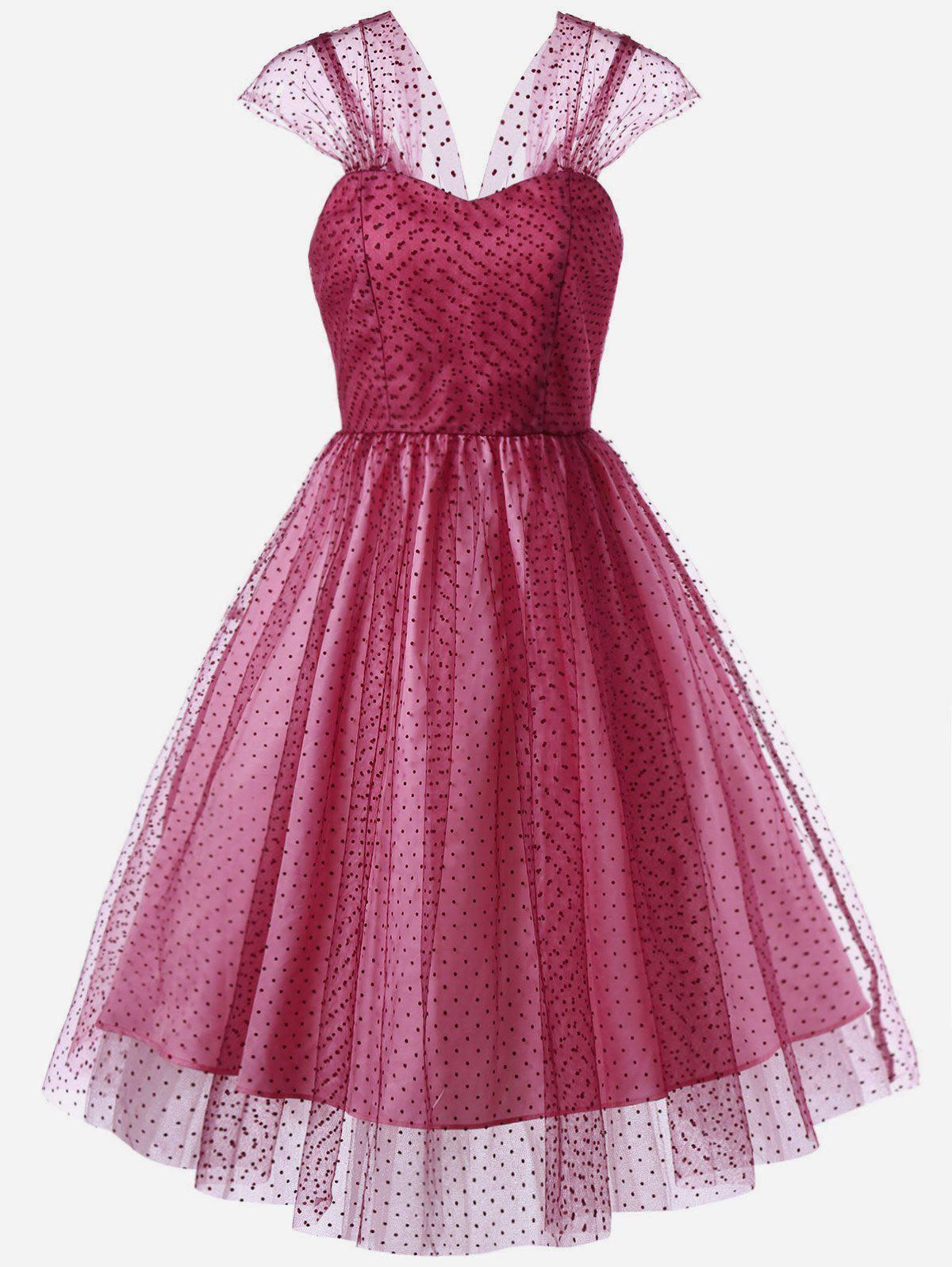 Polka Dot Bandeau Tulle Cocktail Dress - ROSE MADDER 2XL