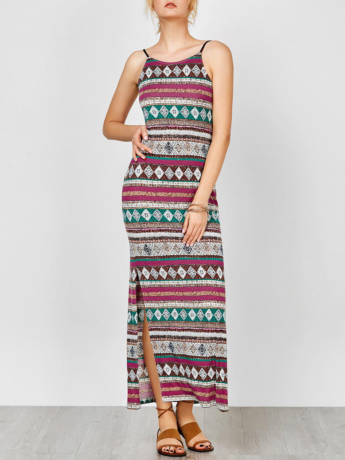 Spaghetti Strap Backless Maxi Bohemian Dress - COLORMIX M