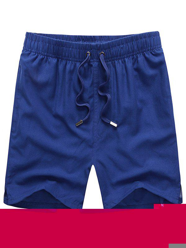 Mesh Lining Hidden Pocket Drawstring Board Shorts - ROYAL 2XL