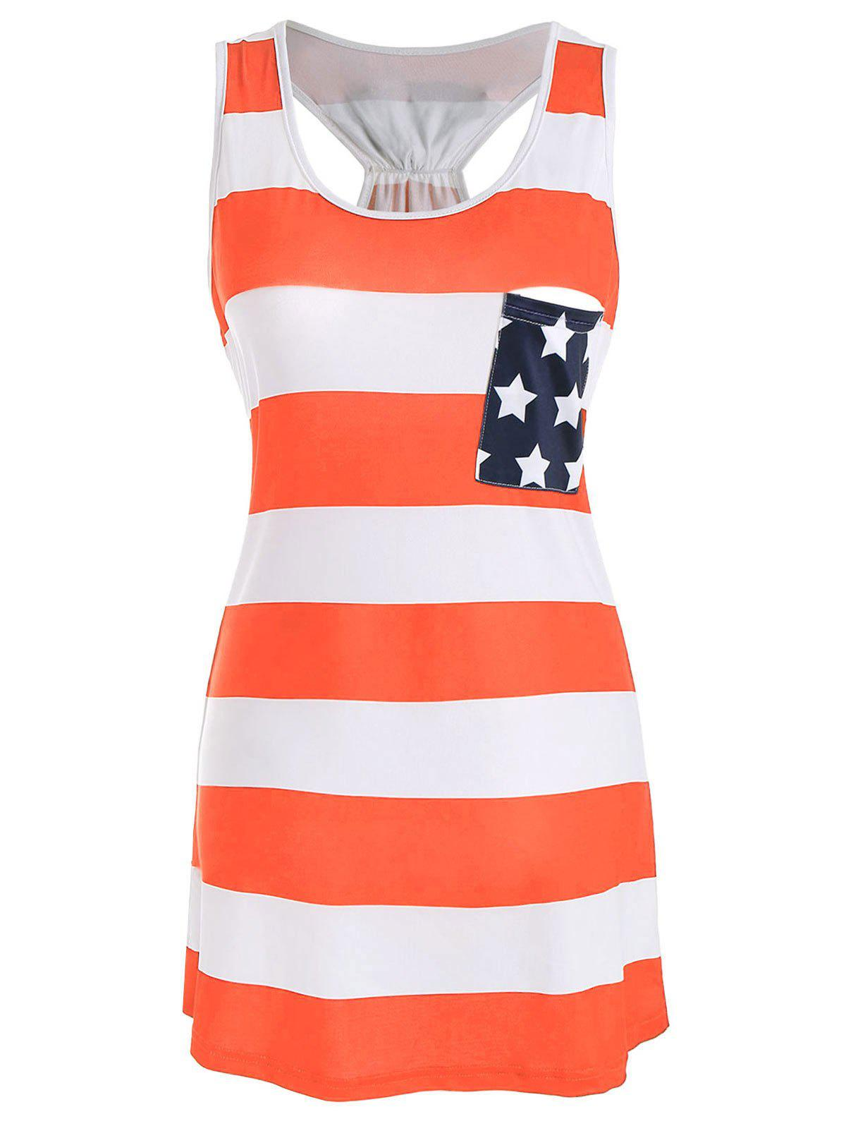 Stars and Stripes Racerback Tank Dress - ORANGE 2XL