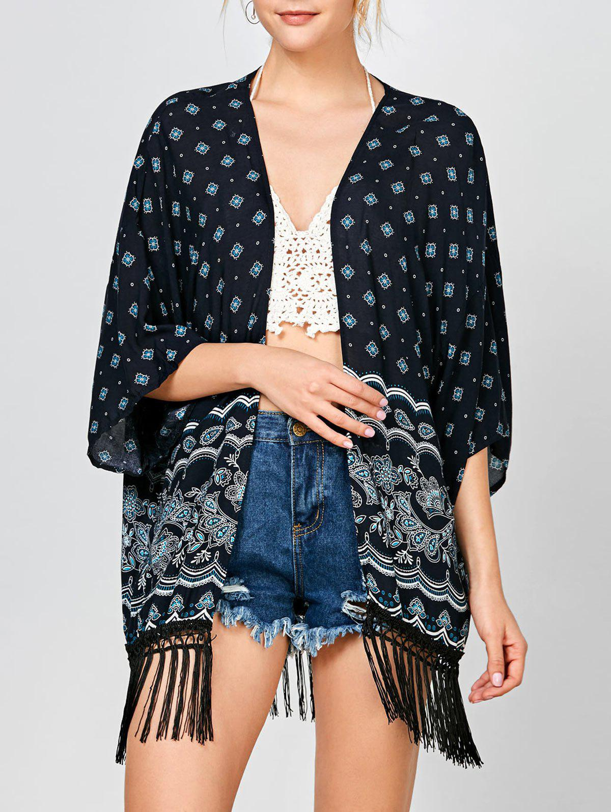 Fringed Tribal Print Open Front Kimono - PURPLISH BLUE ONE SIZE