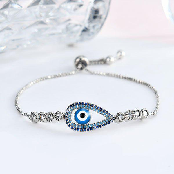 Rhinestone Embellished Devil Eye Box Chain Bracelet round devil eye rhinestone bracelet