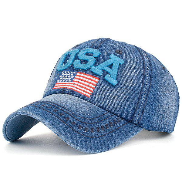 Ameriacn Element Embroidery Baseball Cap - BLUE