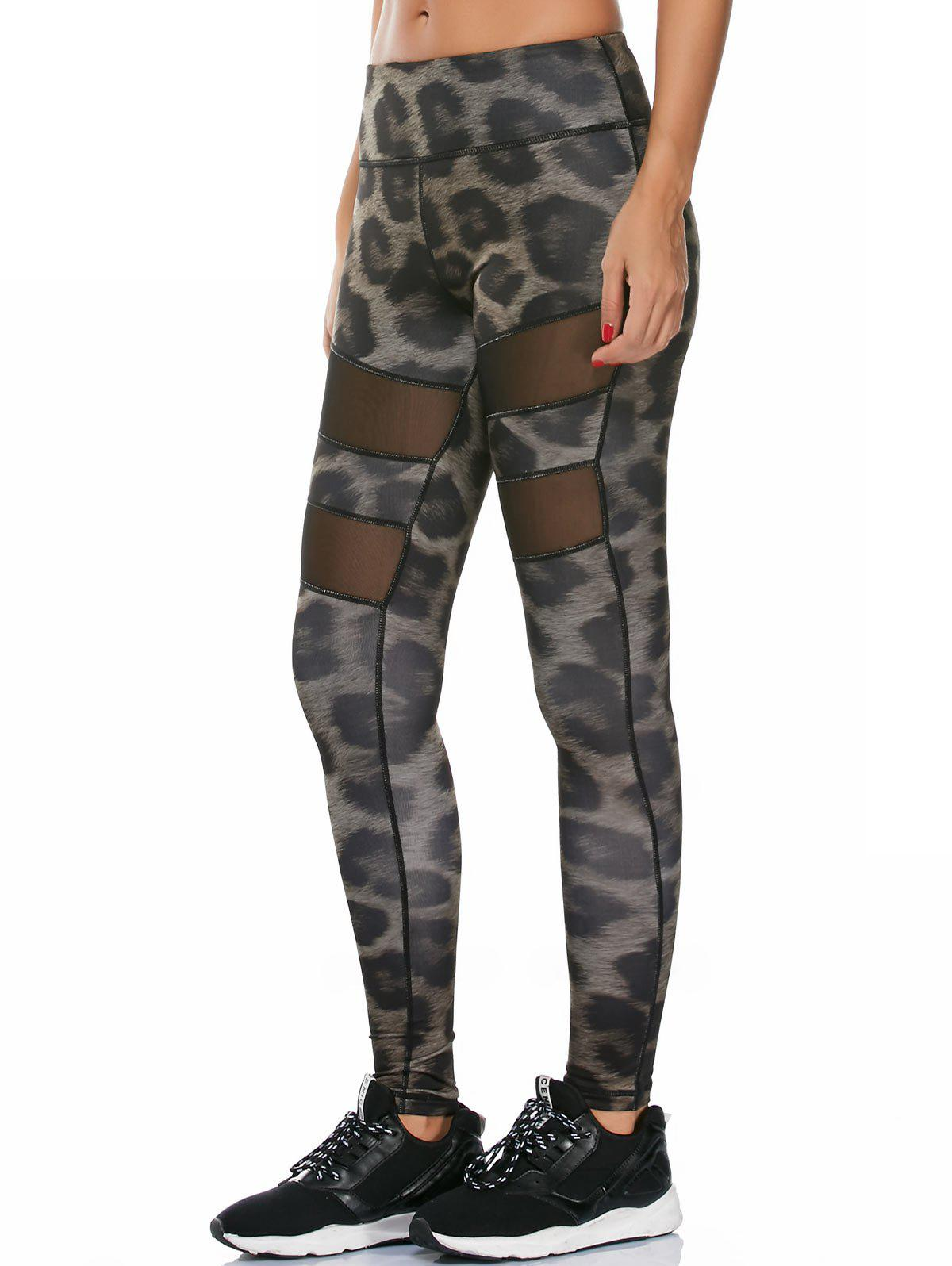 Snake Printed Workout Leggings with Mesh - multicolor M