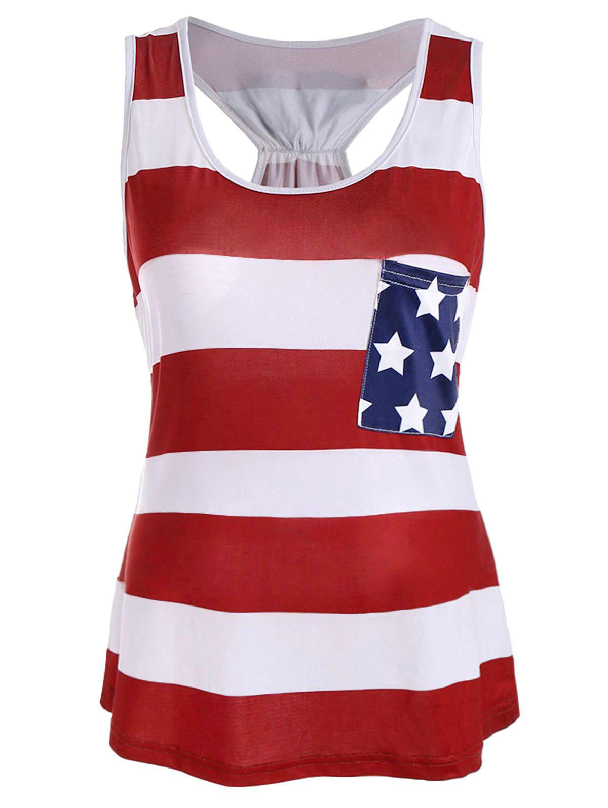 Stars and Stripes Racerback Tank - BRIGHT RED 2XL