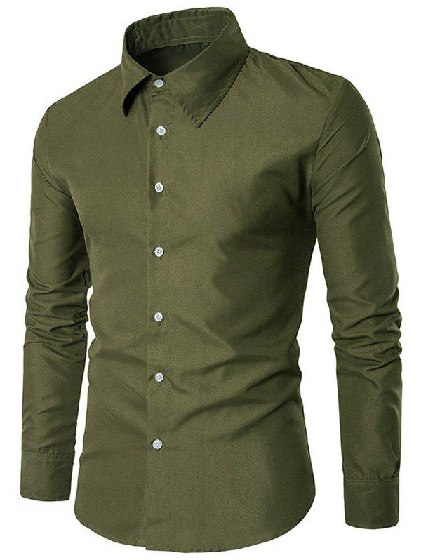 Slim Long Sleeve Button Up Shirt - ARMY GREEN L