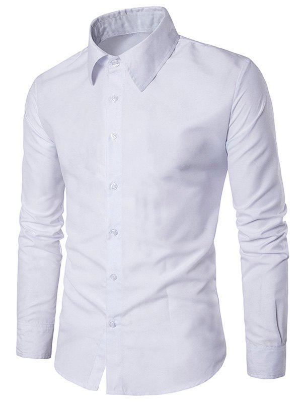 Slim Long Sleeve Button Up Shirt - WHITE L