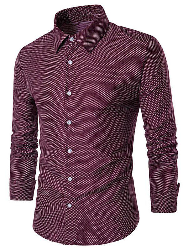 Polka Dot Long Sleeve Shirt - RED 3XL