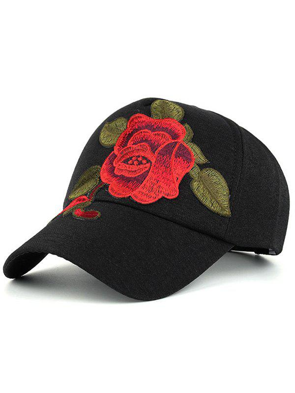 Showy Peony Embroidery Baseball Hat - BLACK