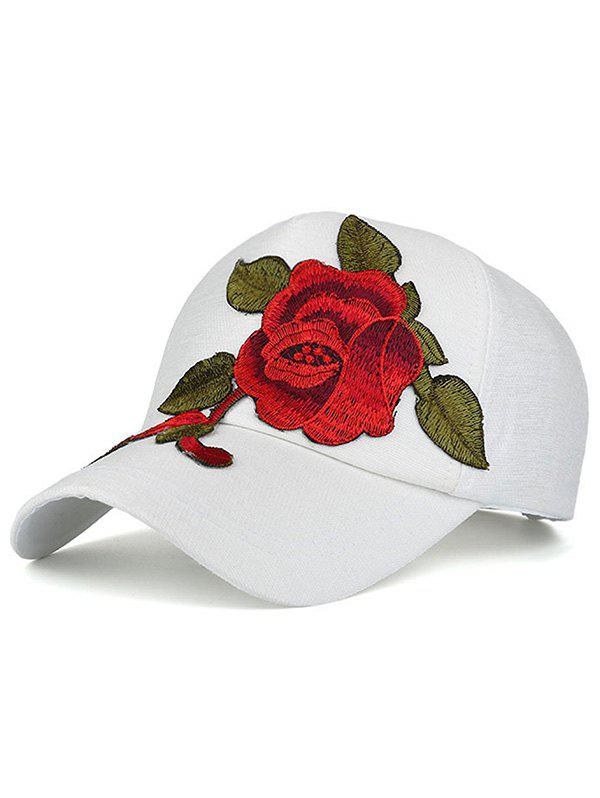 Showy Peony Embroidery Baseball Hat - WHITE