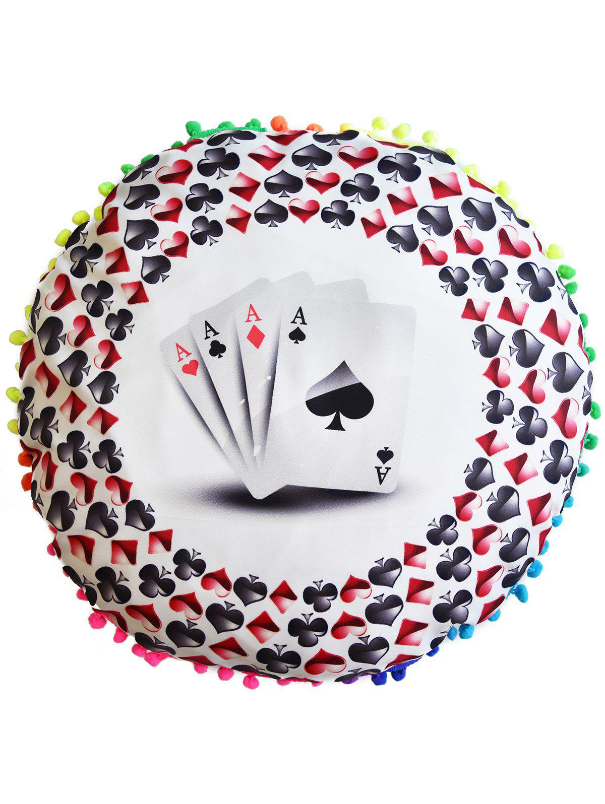 Poker Print Round Decorative Pillow Case Cover - COLORMIX DIAMETER: 45CM