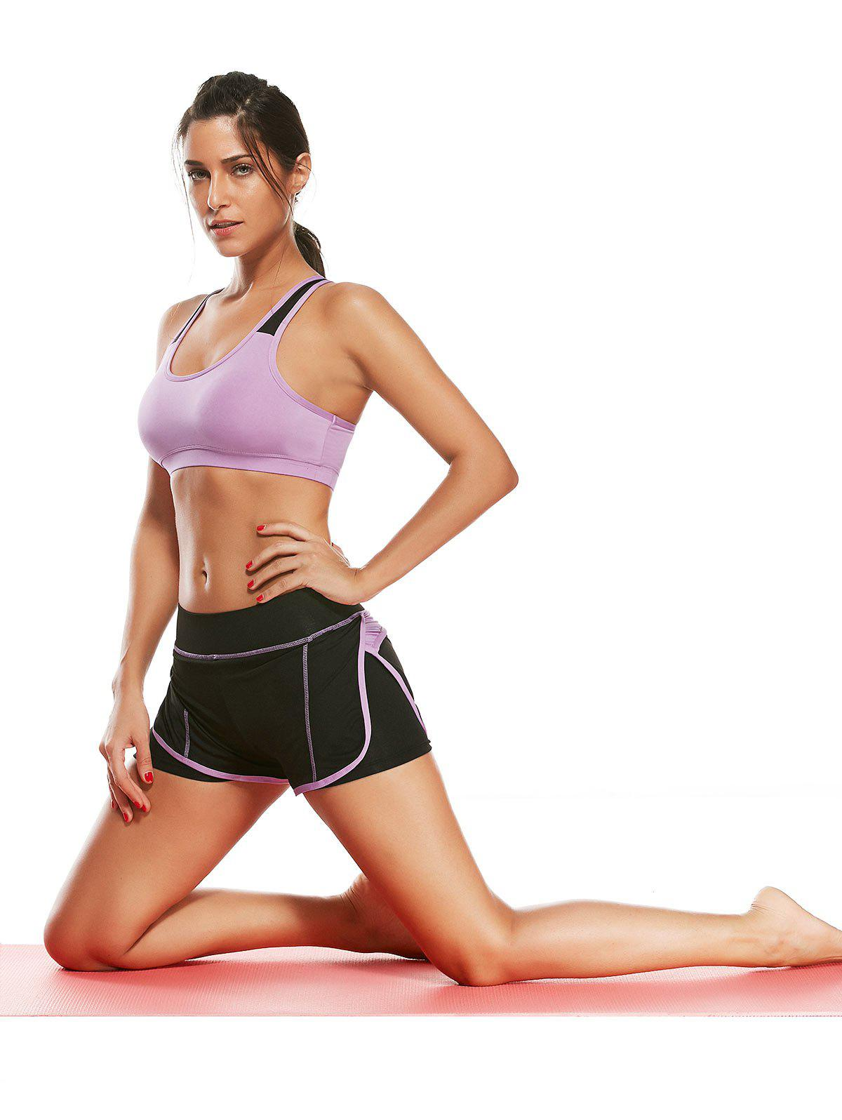 Strappy Padding Sports Bra et Layer Running Shorts - Pourpre S