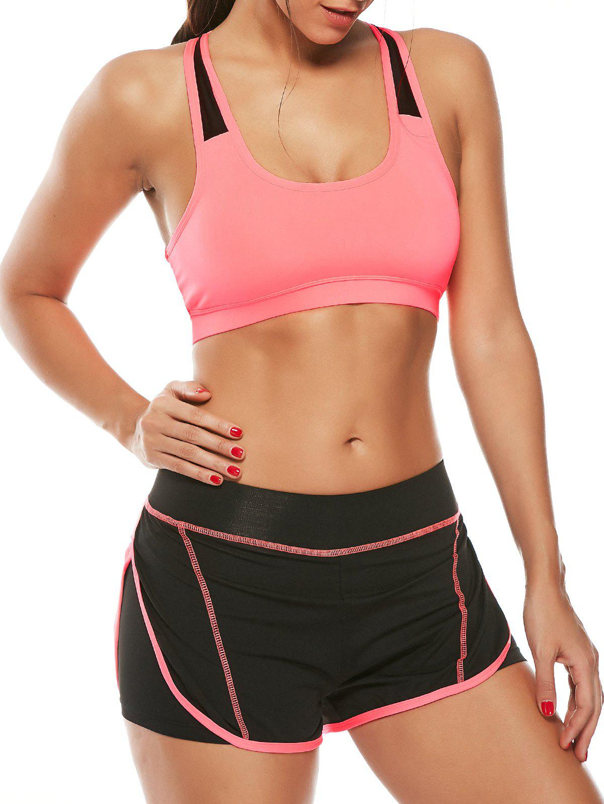 Strappy Padding Sports Bra et Layer Running Shorts - Pastèque Rouge L