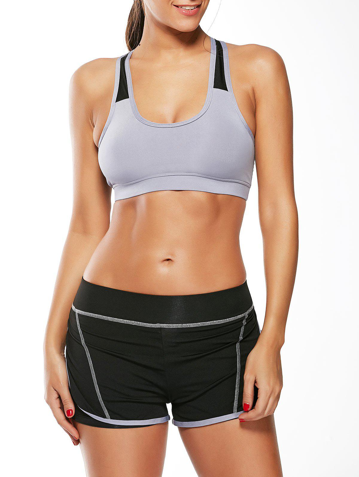 Strappy Padded Sports Bra and Layer Running Shorts - GRAY M