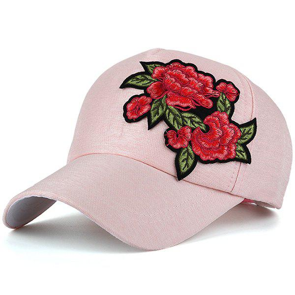 Vintage Flowers Embroidery Baseball Cap - PEARL LIGHT PINK