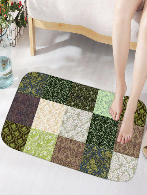 Plaid Plant Flannel Water Absorption Tapis de salle de bain - multicolore THIN W16INCH*L24INCH