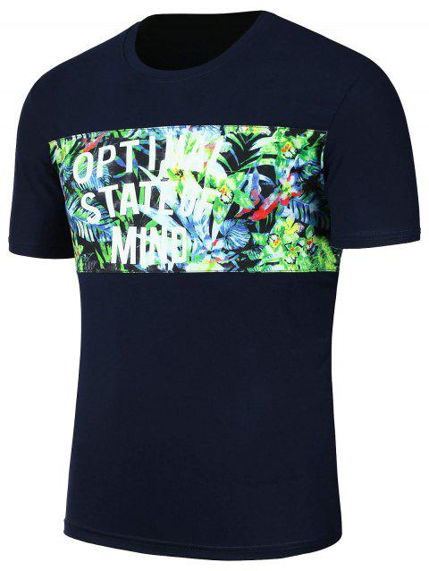 Crew Neck Tropical Floral Graphic T-Shirt - CADETBLUE 3XL