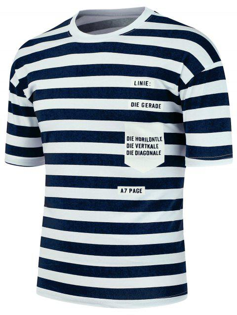 Graphic Print Striped T-Shirt - CADETBLUE L