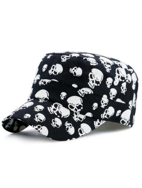 Flat Top Military Hat with Skull Printed - BLACK