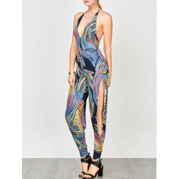Halter Split Backless Printed Jumpsuit