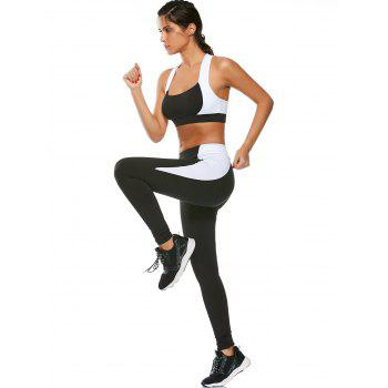 Cutout Sports Bra and Two Tone Gym Leggings - S S