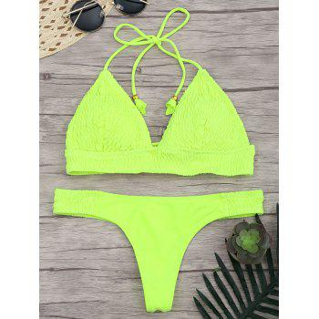Halter Ruched Lace Up Bikini Set