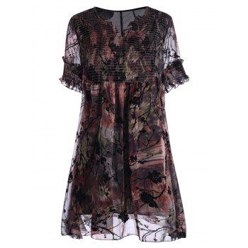 Floral Print Ruched Plus Size Dress