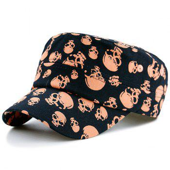Flat Top Military Hat with Skull Printed
