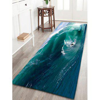 Water Absorption Flannel Surfing Print Bathroom Rug