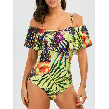 Ruffle Floral Cold Shoulder One Piece Swimsuit