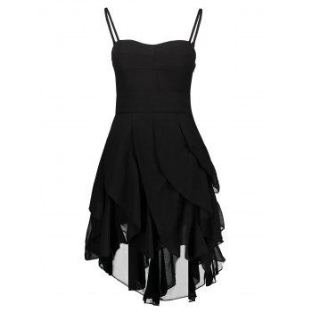 Vintage Spaghetti Strap Asymmetrical Solid Color Gothic Dresses