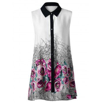 Plus Size Floral Sleeveless High Low Hem Blouse