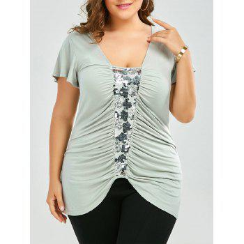 Plus Size Sequined Insert Ruched T-Shirt - PEA GREEN 3XL