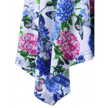 Plus Size Floral Handkerchief Peplum T-Shirt - BLUE 2XL