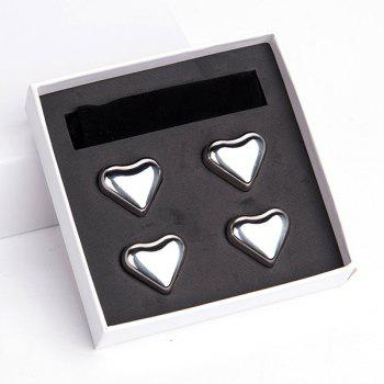4 Pcs Heart Shaped Stainless Steel Ice Cubes Wine Cooling Stone