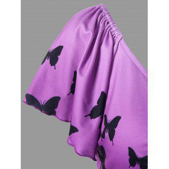 Plus Size Butterfly Print Empire Waist T-Shirt - PURPLE 2XL