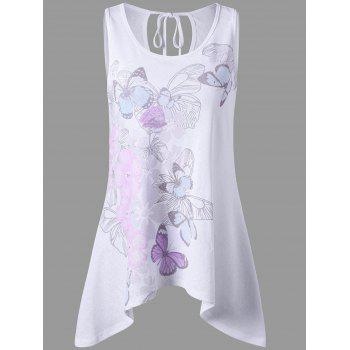 Tie Back Cut Out Floral Tank Top