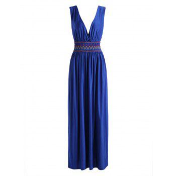 Plunging Neck Embroidered Ruched Dress