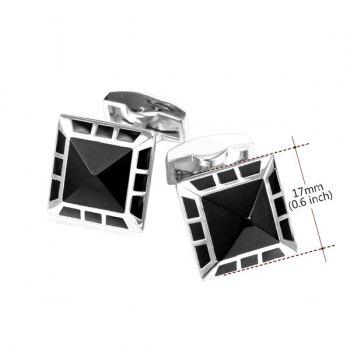 Alloy Embellished Geometric Cufflinks -  SILVER WHITE