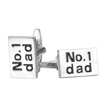 Alloy Rectangle Engraved Dad Cufflinks - SILVER WHITE SILVER WHITE